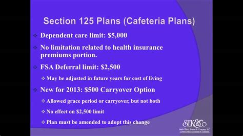 section 125 pop plan updates to section 125 plans cafeteria plans youtube