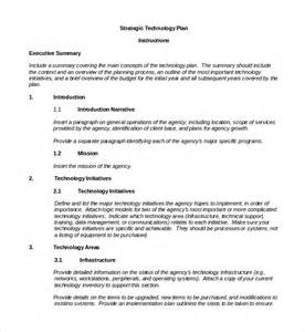 technology plan template technology plan sle template free software