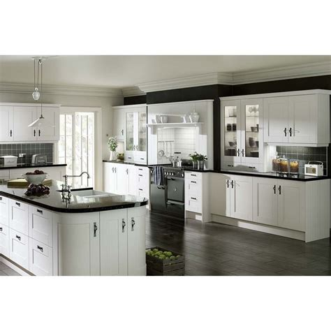 Gresham White Vinyl Wrapped Replacement Kitchen Cabinet Door Fronts For Kitchen Cabinets