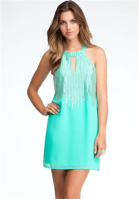 beaded halter dress bebe beaded halter dress exclusive in blue green