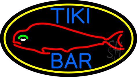 Dolphin Tiki Bar Dolphin Tiki Bar Oval With Yellow Border Neon Sign Tiki