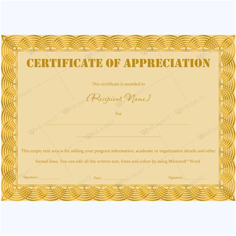 certificate of appreciation editable templates www
