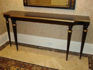 Walnut Amp Gold Entry Hall Table Traditional Hall