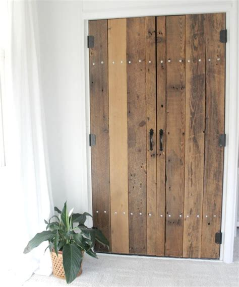 door for closet diy reclaimed wood closet doors the definery co