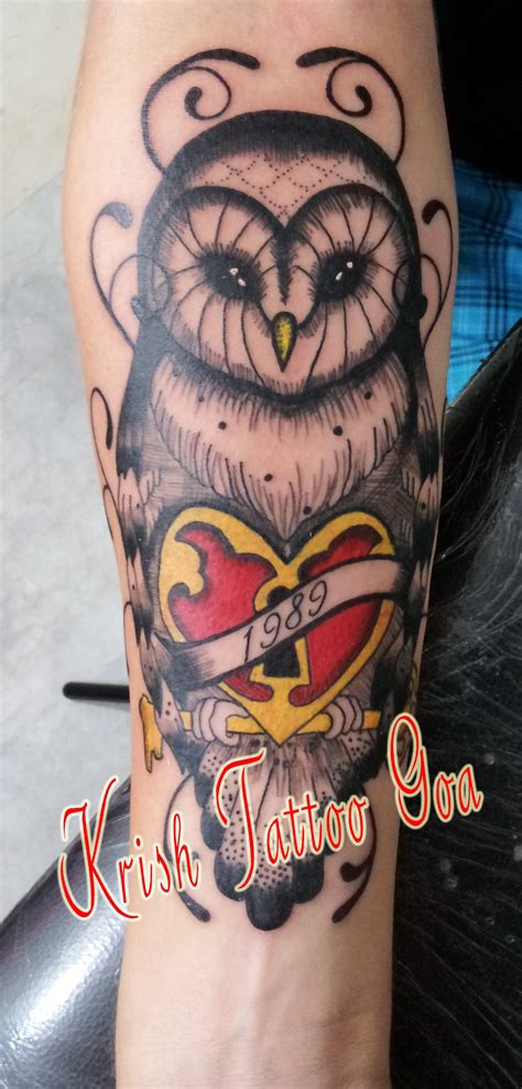 new traditional tattoo goa krish new traditional owl goa