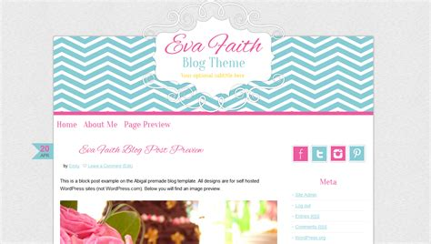 Cute Wordpress Theme Premade Blog Design Pink Chevron Bd Web Studio Theme Template