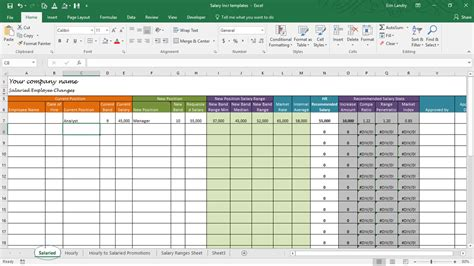 Salary Spreadsheet by Salary Increase Template Excel Compensation Metrics