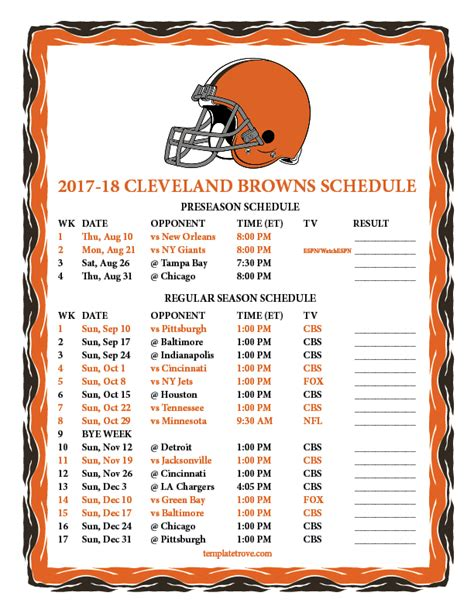 Cleveland Browns Schedule 2018 Printable printable 2017 2018 cleveland browns schedule