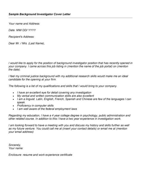 Investigator Cover Letter by Background Investigator Resume Sales Investigator Lewesmr
