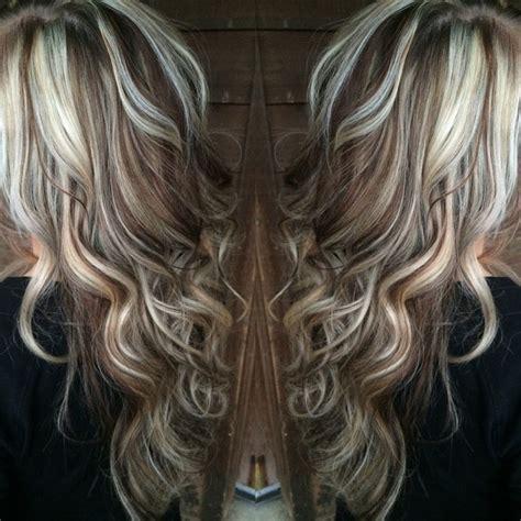 platinum blonde highlight with dark brown low lights blonde highlights with chocolate brown lowlights hair
