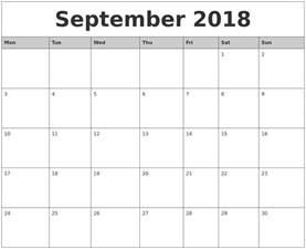 Calendar 2018 Printable Monday Start September 2018 Monthly Calendar Printable