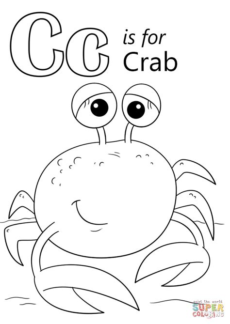 letter c is for crab coloring page free printable