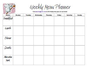 45 Printable Weekly Meal Planner Templates Kitty Baby Love This Week S Menu Template