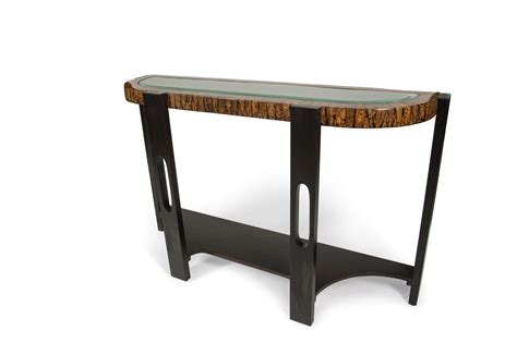 Montecristo Transitional Curved Sofa Table With Stone And Sofa Table Glass Top