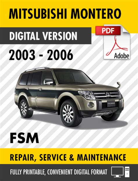 repair manuals mitsubishi montero 2003 repair manual 2003 2006 mitsubishi montero factory service manual workshop manual ebay