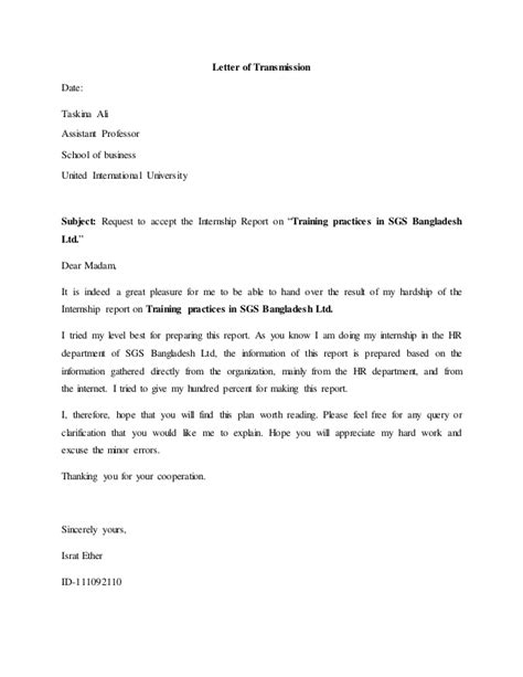 Explanation Letter For Safety Internship Report On Sgs