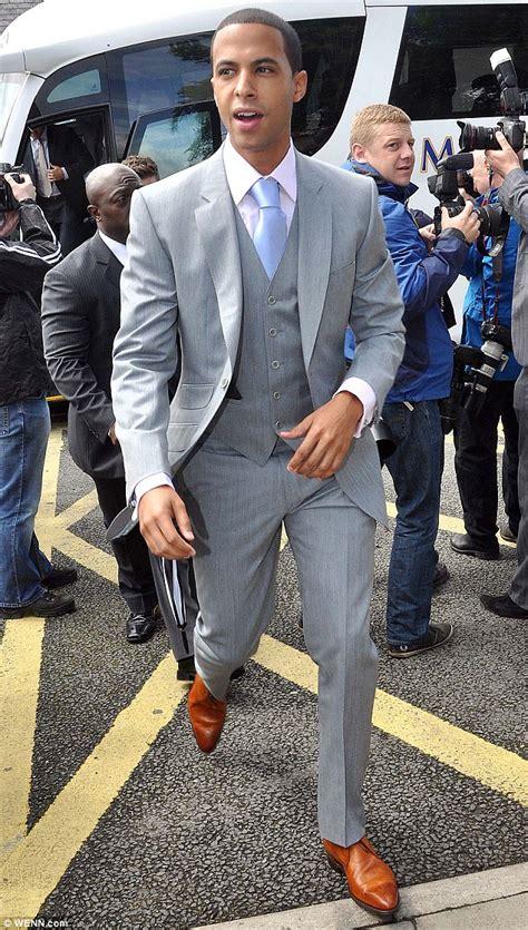 light grey suit brown shoes tan shoes light grey suit purple tie groomsmen
