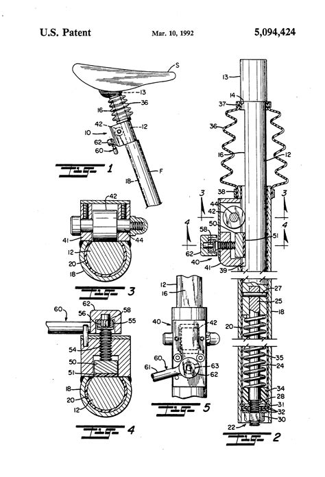 bicycle seat post shock absorber assembly patent us5094424 bicycle seat post shock absorber