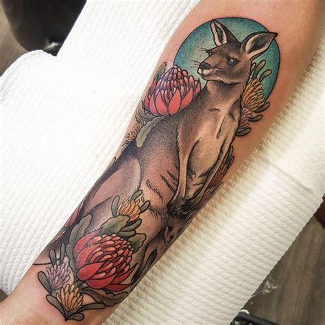 tribal tattoos brisbane tattoos kangaroo aand joey with waratah and hakea flower