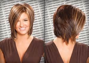 medium length hairstyles front and back with bangs inverted medium bob with back view haircut ideas