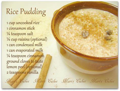 arroz con leche rice pudding mari s cakes english