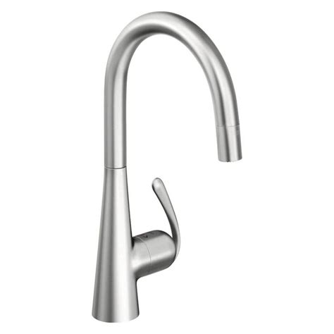 kitchen faucets stainless steel shop grohe ladylux stainless steel 1 handle pull deck mount kitchen faucet at lowes
