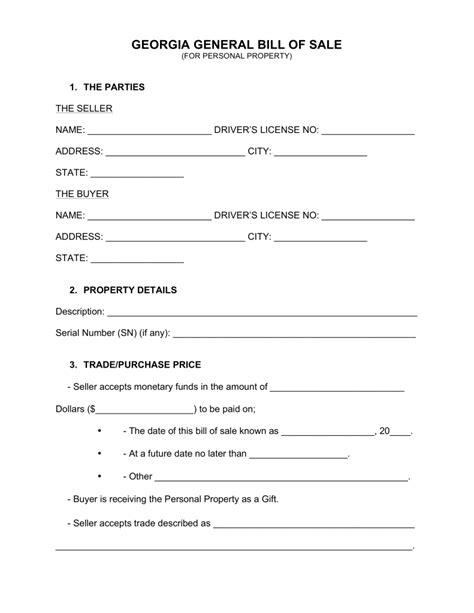 Free Bill Of Sale Template Ga free general bill of sale form word pdf