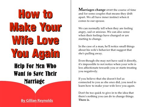 how to make your wife love you again help for men who