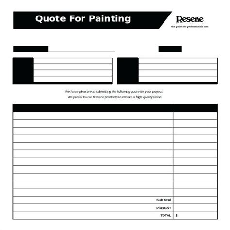 Blank Quote Template Free Painting Quotation Form Free Word Format Template Blank Estimate Free Painting Estimate Template