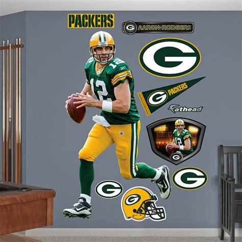 green bay packers wall stickers fathead aaron rodgers green bay packers