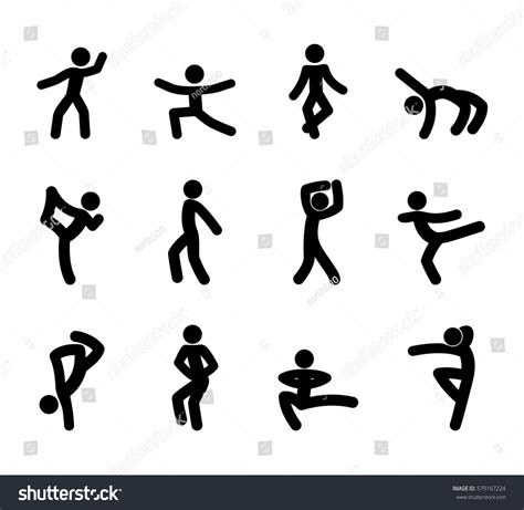 set stick figures dance moves isolated stock vector