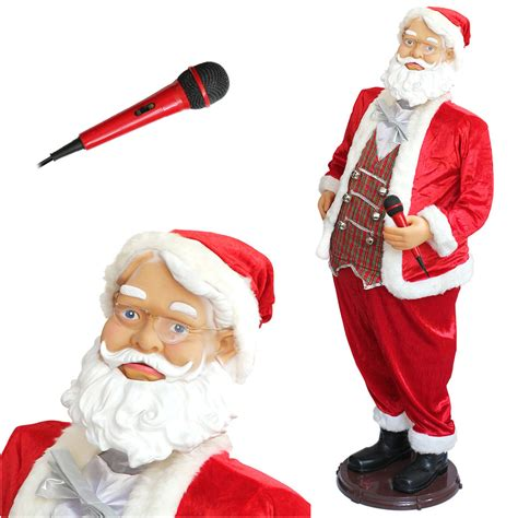santa parts dancing singing santa claus 1 50m big singing karaoke size 150cm ebay
