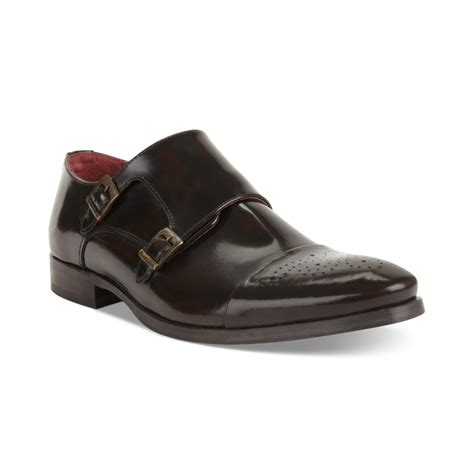 kenneth cole brown shoes kenneth cole dotted line leather monk shoes in brown