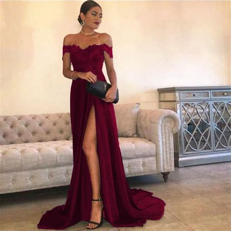 Bridesmaid Dresses With Slits Up The Leg - leg slit satin prom dresses lace the shoulder evening
