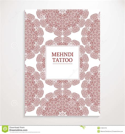 henna tattoo posters poster template mehndi design stock vector image 57367479