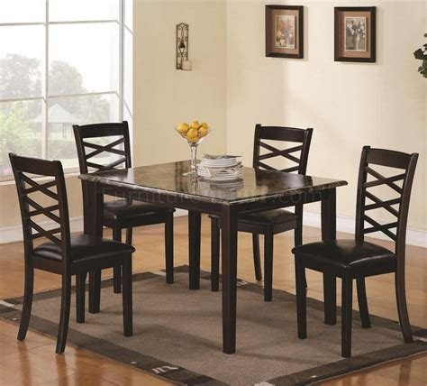 brown cherry finish modern pc dining set wfaux marble top