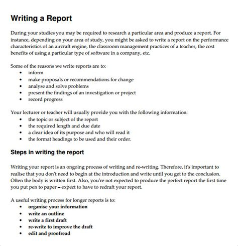 report template format sle report writing format 6 free documents in pdf