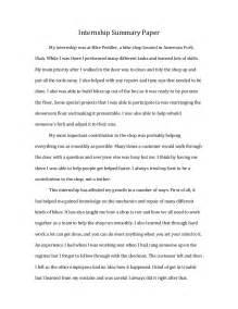 Internship Essay Sample Internship Summary Paper
