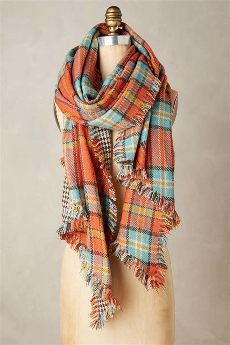 anthropologie quartier plaid scarf in pink coral lyst