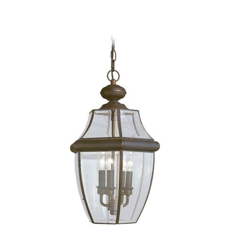 home depot exterior light fixtures sea gull lighting lancaster 3 light outdoor antique bronze hanging pendant fixture 6039 71 the