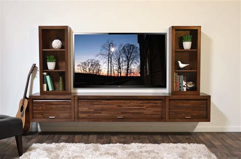15 Inch Wide Bookcase Floating Entertainment Center Wall Mount Tv Stand Eco