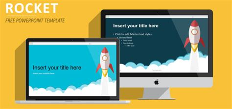 template ppt flat free rocket powerpoint template