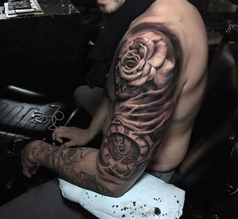 upper arm tattoo ideas for men clock half sleeve tatting
