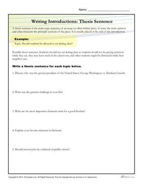 How To Write A Thesis Essay by How To Write A Thesis Statement Worksheet Activity