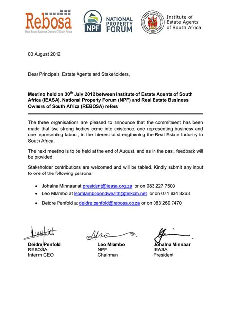 Business Letter Format South Africa business letter format south africa sle business letter