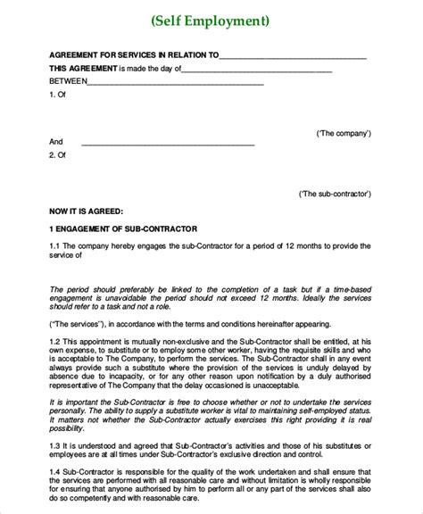 self employed agreement template self employment agreement 6 the employment malaysian
