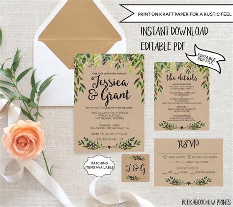 Rsvp Wedding Invite Template by Wedding Invitation Template Set Editable Rustic Invitation