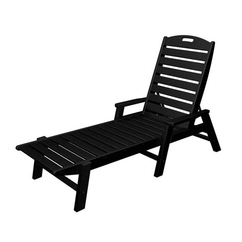 black patio chairs shop polywood nautical black plastic patio chaise lounge