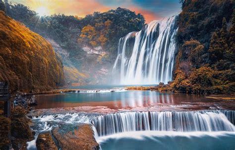 wallpaper rocks dawn waterfall china huangguoshu
