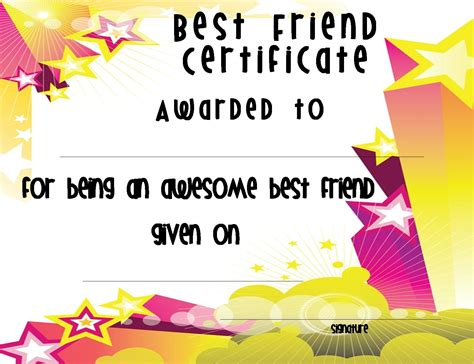 best friend certificate templates top